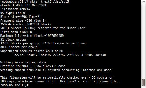 Utworzenie systemu plików na partycji sdb5